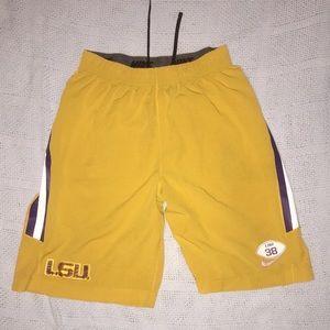 LSU football workout shorts.